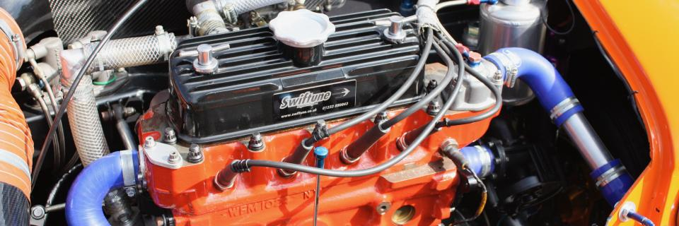 Engine of a Mini Seven racing Mini
