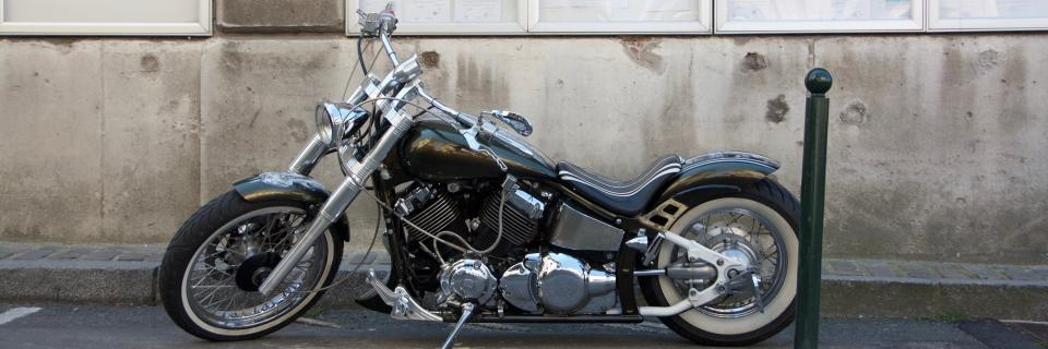 Customized Suzuki Intruder in French village