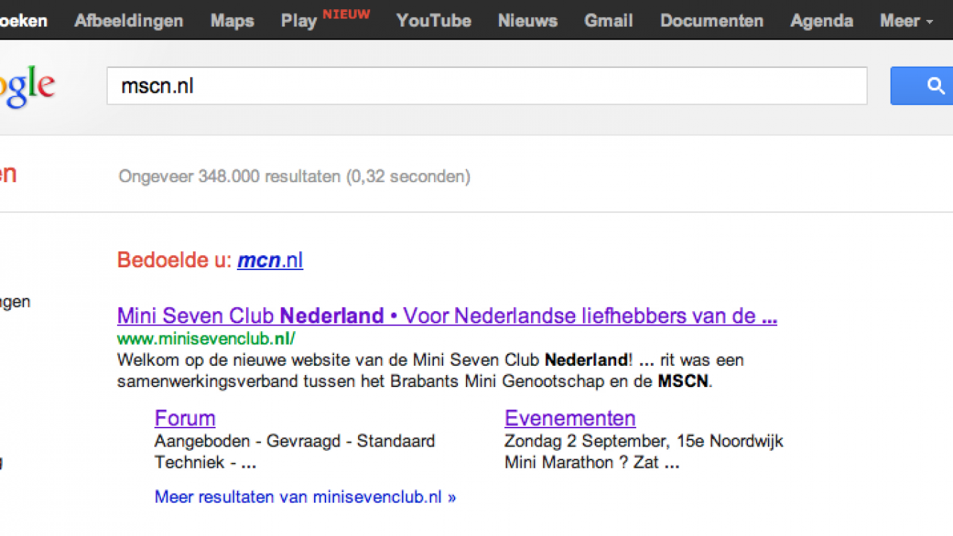 Screenshot of Google search for mscn.nl.